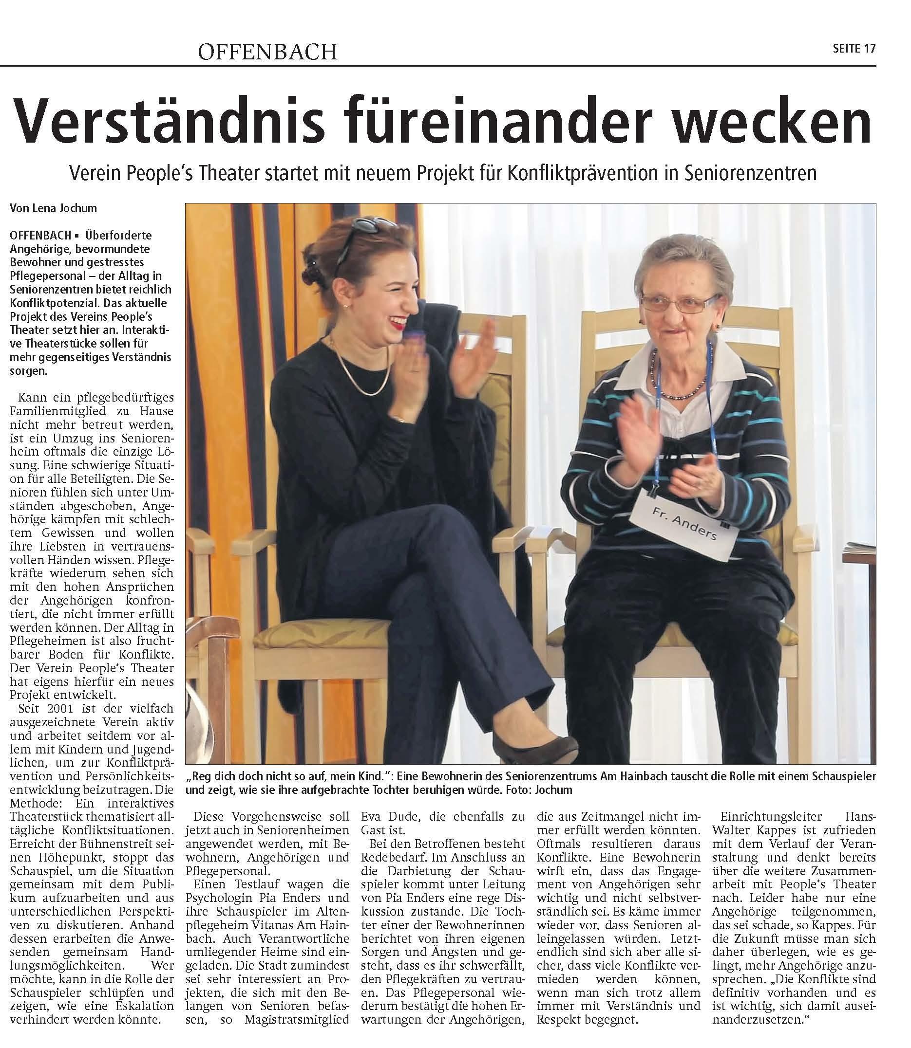 Zeitungsartikel in der Offenbach Post, 24.02.2018